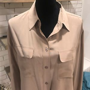 Equipment Signature Silk Cocoa/Tan Top, Sz Large